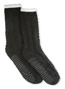 Sherpa Lined Knit Slipper Socks - BLACK - 1148068060901