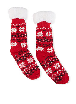 Printed Sherpa Lined Slipper Socks - 1148068069948