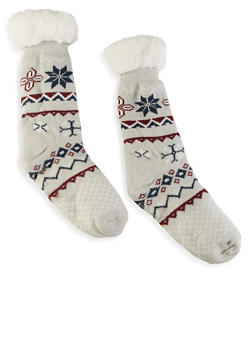 Printed Sherpa Lined Slipper Socks - 1148068069952