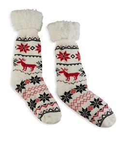 Printed Sherpa Lined Slipper Socks - IVORY - 1148068069952