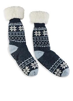 Printed Sherpa Lined Slipper Socks - NAVY - 1148068069952