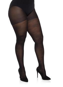 Plus Size Textured Jacquard Tights - BLACK - 1150041450087
