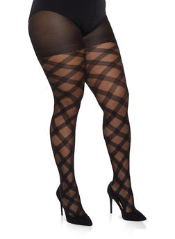 Plus Size Textured Jacquard Tights - BLK PTN - 1150041450087