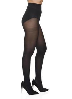 Black Opaque Tights - 1150041455401