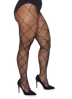 Plus Size Fishnet Footed Tights - BLACK - 1150068060722