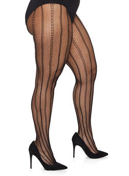 Plus Size Fishnet Footed Tights - BLACK/WHITE - 1150068060722