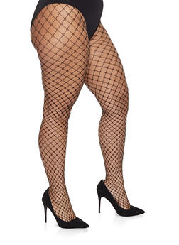 Plus Size Fishnet Footed Tights - WHT-BLK - 1150068060722