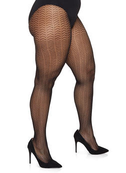 Plus Size Fishnet Footed Tights - BLACK DENIM - 1150068060722