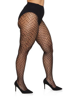 Plus Size Solid Fishnet Tights - 1150068061730