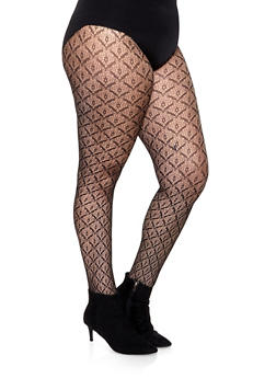 Plus Size Patterned Footed Tights - BLACK DENIM - 1150068067717
