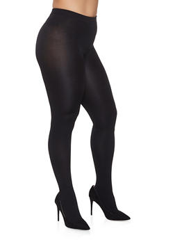 Plus Size Fleece Lined Footed Tights - 1150068068851