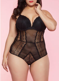 Plus Size Lace Mesh Teddy - 1151064870621