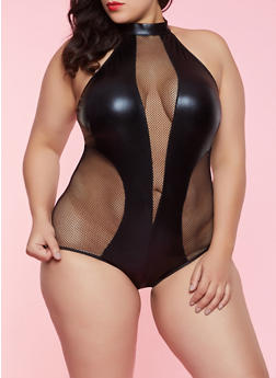 Plus Size Faux Leather and Fishnet Teddy - 1151064871706