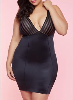 Plus Size Shadow Stripe Shapewear Slip - 1151064878898
