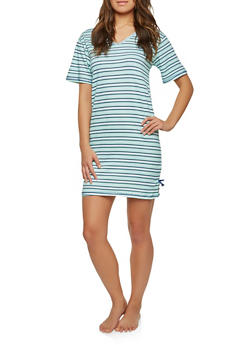 Striped Sleep Shirt - TEAL S - 1151069003084