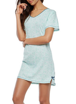 Printed Sleep Shirt - MINT - 1151069003086