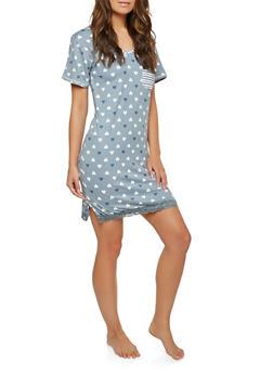 Heart Print Lace Trim Sleep Shirt - BABY BLUE - 1151069009311