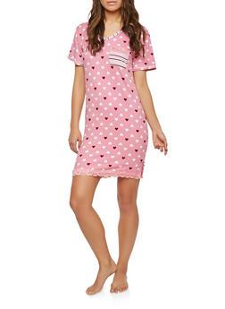 Heart Print Lace Trim Sleep Shirt - PINK - 1151069009311