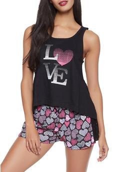 Love Heart Graphic Pajama Tank Top and Shorts Set - 1152035161665