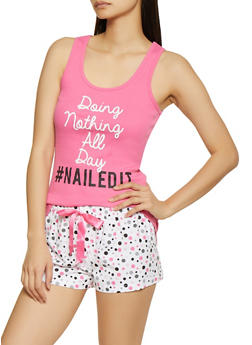 Doing Nothing All Day Pajama Tank Top and Shorts Set - 1152035162174