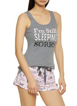 Im Still Sleeping Sorry Pajama Tank Top and Shorts Set - 1152035162175