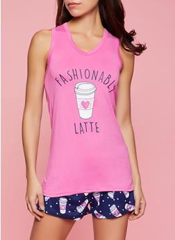 Fashionably Latte Pajama Tank Top and Shorts Set - 1152035162782