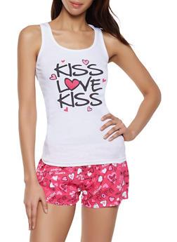 Kiss Love Kiss Pajama Tank Top and Shorts Set - 1152035164320