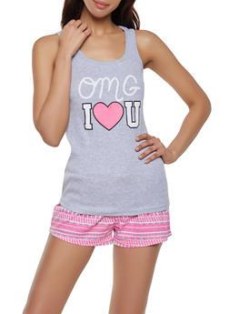 OMG Pajama Tank Top and Shorts Set - 1152035164323