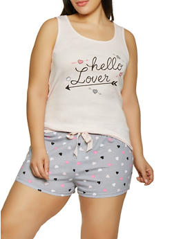 Plus Size Hello Lover Pajama Tank Top and Shorts - 1152035165327