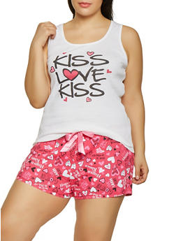 Plus Size Kiss Love Kiss Pajama Tank Top and Shorts Set - 1152035165328