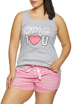 Plus Size OMG Pajama Tank Top and Shorts Set - 1152035165331