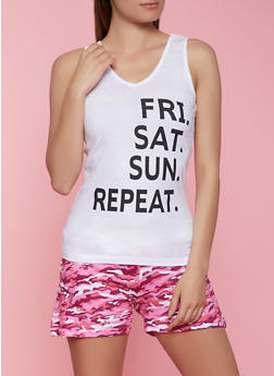 Graphic Pajama Tank Top and Camo Shorts - 1152052313573