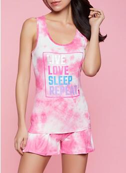 Live Love Sleep Repeat Pajama Tank Top and Shorts Set - 1152052316116