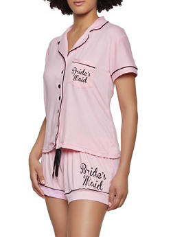 Brides Maid Contrast Trim Pajama Shirt and Shorts Set - 1152068064147