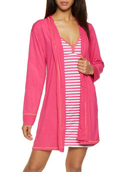 Too Tired to Talk Fuchsia Robe and Striped Chemise Set - 1152069000530