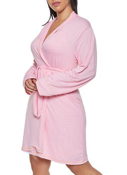 Plus Size Striped Pajama Teddy and Robe Set - 1152069001529