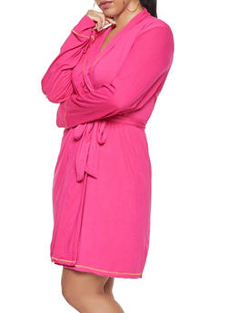 Plus Size Striped Pajama Teddy and Robe Set - 1152069001530
