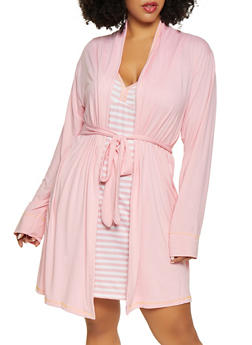 Plus Size Lets Sleep In Graphic Robe and Chemise Set - 1152069001541