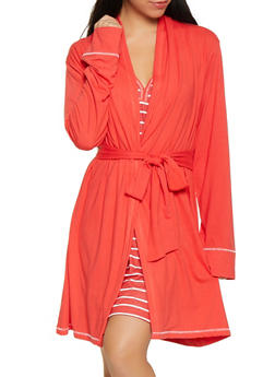 Love Always Wins Red Robe and Striped Chemise Set - 1152069005552