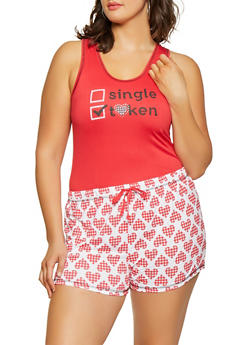 Plus Size Graphic Pajama Tank Top and Shorts - RED - 1152069006149