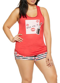 Plus Size Lip Graphic Pajama Tank Top and Shorts - RED - 1152069006152