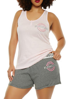 Plus Size Graphic Racerback Top with Shorts Pajama Set - PINK - 1152069006947