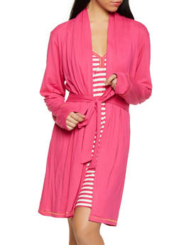 Too Tired to Talk Fuchsia Robe and Striped Chemise Set - 1152069008559