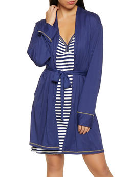 Breakfast Crew Robe and Striped Chemise Set - 1152069008560