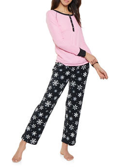 Snowflake Pajama Top and Bottom Set - 1154035161193