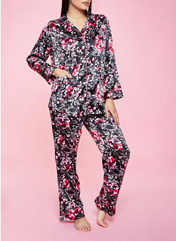 Satin Floral Pajama Top and Pants Set - 1154035161638