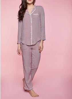 Vertical Stripe Pajama Shirt and Pants - 1154035161838