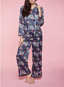 Satin Floral Pajama Shirt and Pants - 1154035161850