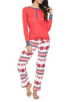 Holiday Pajama Top and Bottom Set - 1154035161980