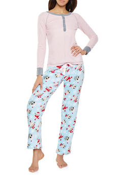 c746af4b3545 Thermal Henley and Fleece Bottom Pajama Set - 1154035161984